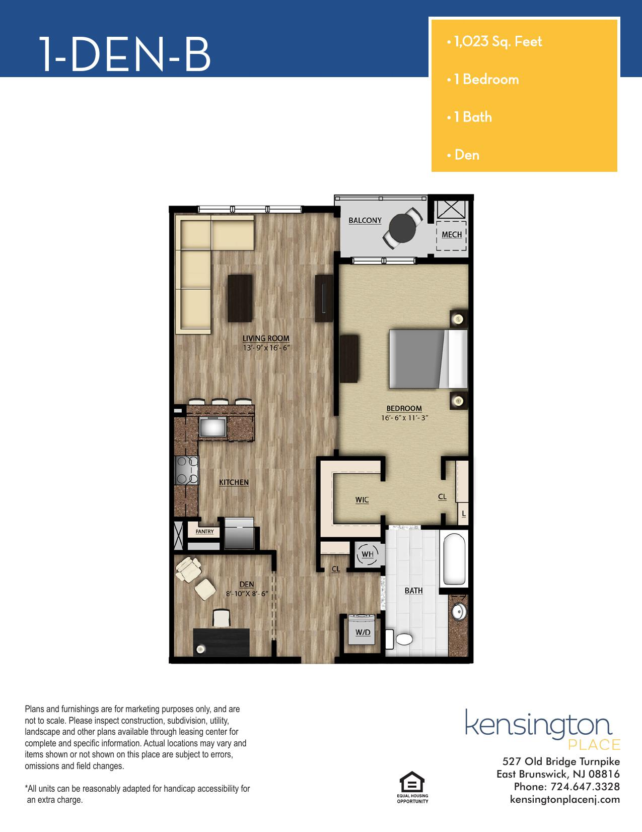 1 DEN B Floor Plan